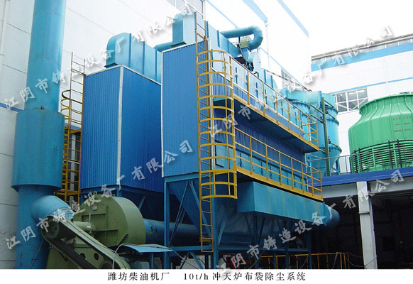 Fan reverse blow type bag dust collector of 10t/h cupola in Weichai
